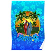Blue Flowers Tropical Sunset Poster