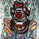 diver's helmet, deep sea diving old school tattoo art by resonanteye