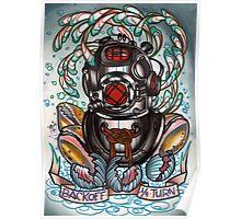 diver's helmet, deep sea diving old school tattoo art Poster
