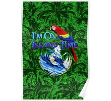 Island Time Surfing Palm Trees Poster