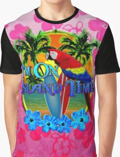 Pink Hibiscus Island Time Sunset Graphic T-Shirt