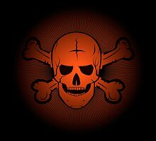 skull and crossbones. Jolly Roger on a beautiful black and orange background. by pashigorov