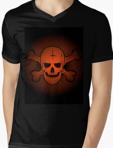 skull and crossbones. Jolly Roger on a beautiful black and orange background. Mens V-Neck T-Shirt