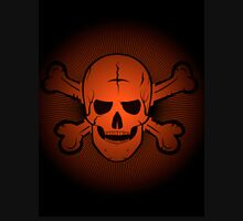 skull and crossbones. Jolly Roger on a beautiful black and orange background. Unisex T-Shirt