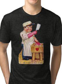 vintage valentine creepy butcher 2 Tri-blend T-Shirt