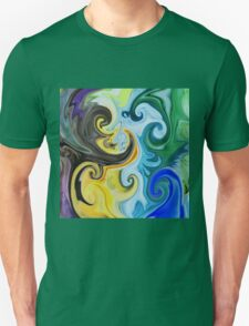 Abstract Curves Decorative Painting T-Shirt