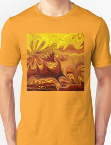 Yellow And Brown Flower Abstract  T-Shirt