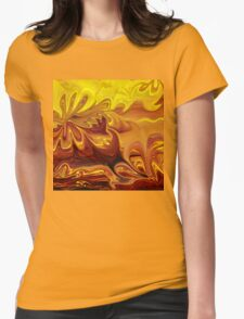 Yellow And Brown Flower Abstract  Womens Fitted T-Shirt