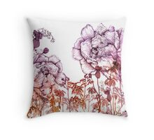 Ombre peony pattern Throw Pillow