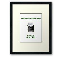 Monthly Writing Challenge (typewriter) - on black Framed Print