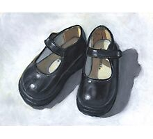 Little Black Shoes: Still Life Painting, Oil Pastel Photographic Print