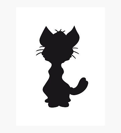 design silhouette black outline silhouette sitting sweet cute kitten fluffy fur Photographic Print