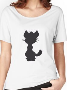design silhouette black outline silhouette sitting sweet cute kitten fluffy fur Women's Relaxed Fit T-Shirt
