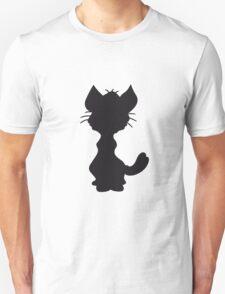 design silhouette black outline silhouette sitting sweet cute kitten fluffy fur T-Shirt