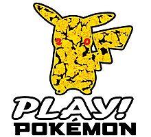 """Pokemon 20th Year Anniversary pikachu """"PLAY POKEMON"""" Photographic Print"""