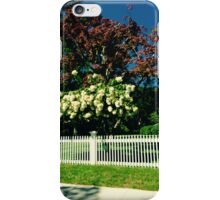 Hydrangeas Blooming White Fence - Hamptons iPhone Case/Skin