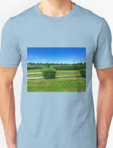 Hamptons Landscape Blue Sky Green Grass T-Shirt