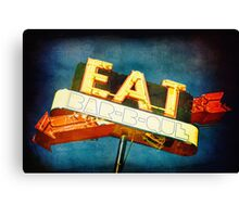 Eat Barbecue Vintage Sign  Canvas Print