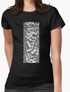 Tree bark covered by the snow . Womens Fitted T-Shirt
