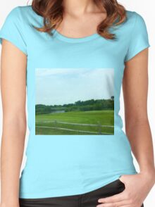 Hamptons Greenery with Fence Women's Fitted Scoop T-Shirt