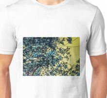Yellow Sky Blue Leaves Unisex T-Shirt