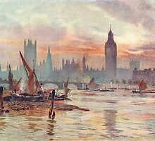 Westminster at Dusk in 1891  by artfromthepast