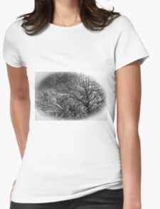 Black and White Trees Womens Fitted T-Shirt
