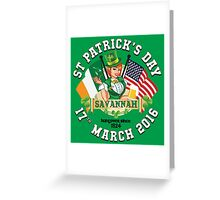 St Patricks Day Celebrations - City Of Savannah Outline Variant Greeting Card