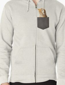 cute ginger cat in pocket  Zipped Hoodie