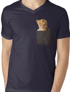 cute ginger cat in pocket  Mens V-Neck T-Shirt