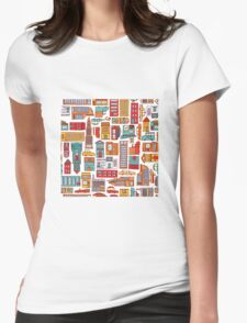 Seamless pattern background of cartoon city Womens Fitted T-Shirt