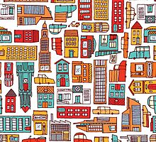 Seamless pattern background of cartoon city by curvabezier