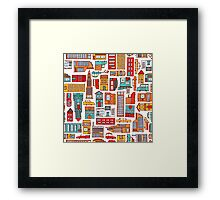 Seamless pattern background of cartoon city Framed Print