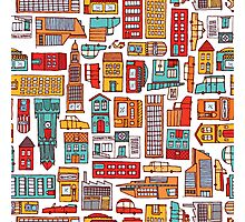 Seamless pattern background of cartoon city Photographic Print