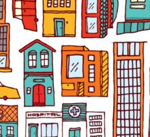 Seamless pattern background of cartoon city Sticker