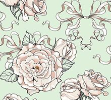 seamless pattern with roses and ribbons, wedding theme by Nadiiaz