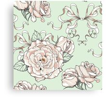 seamless pattern with roses and ribbons, wedding theme Canvas Print