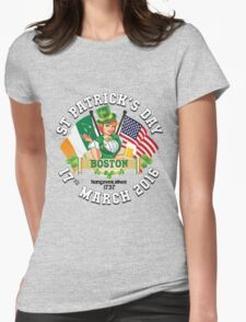 St Patricks Day Celebrations - City Of Boston Outline Variant T-Shirt