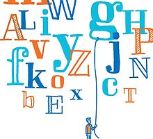 Man holding a floating letter from flying alphabet by curvabezier