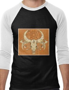 image of a skull with axes and spears tattoo style in color   Men's Baseball ¾ T-Shirt