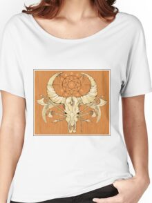 image of a skull with axes and spears tattoo style in color   Women's Relaxed Fit T-Shirt