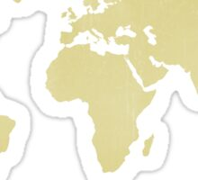 Goldenrod Yellow distressed world map Sticker