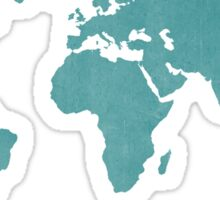 Deep Turquoise distressed world map Sticker