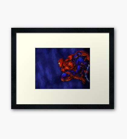 Spiderman Abstract Watercolour Super Hero Framed Print