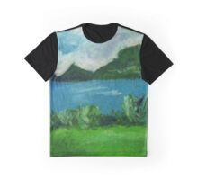 New Zealand Landscpae in Pastel Graphic T-Shirt