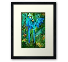 Tropic Spirits - Gold and Blue Macaws Framed Print