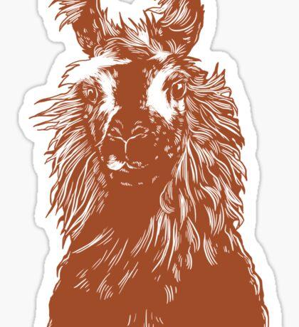 paper llama :: yellow wool fiber alpaca tina napoleon funny cute farm farmer animal ink drawing Sticker