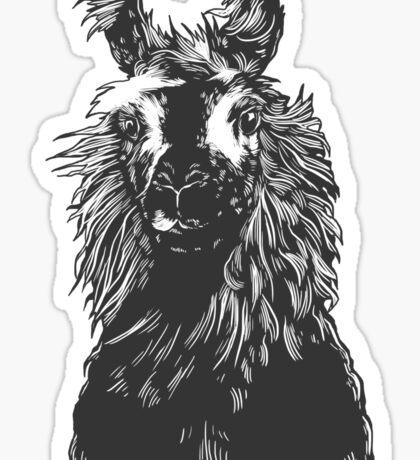 paper llama :: black white wool fiber alpaca tina napoleon funny cute farm farmer animal ink drawing Sticker