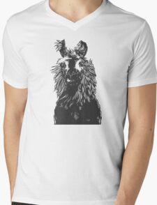 paper llama :: black white wool fiber alpaca tina napoleon funny cute farm farmer animal ink drawing Mens V-Neck T-Shirt