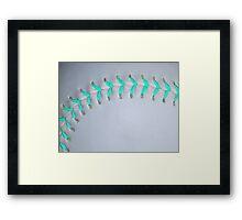 Light Blue Stiches Softball / Baseball Framed Print